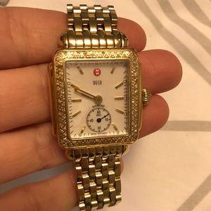 Michele gold deco diamond watch